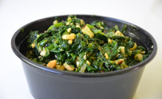 Palak and peanut stir fry